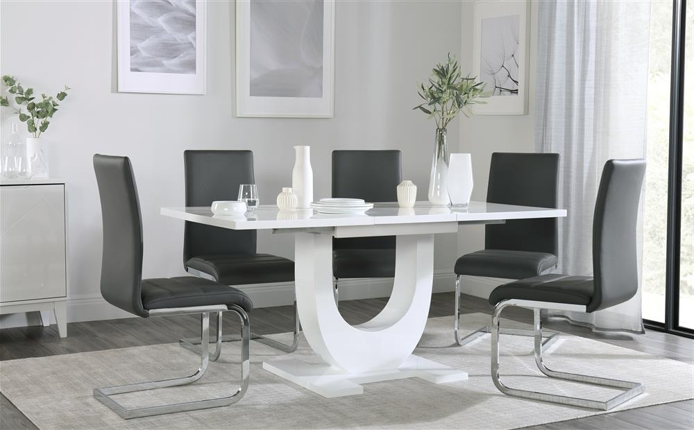 Oslo White High Gloss Extending Dining Table – With 4 6 Perth Grey In Trendy Black Gloss Dining Tables And 6 Chairs (View 14 of 20)