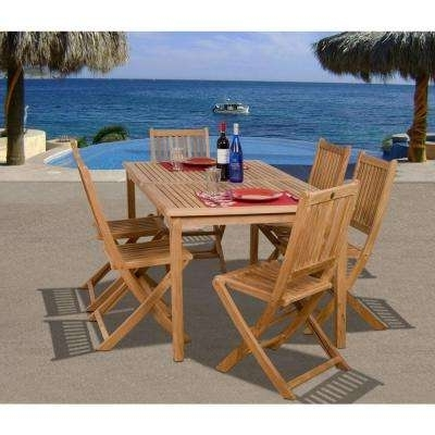 Outdoor Brasilia Teak High Dining Tables In Most Popular Teak – Patio Dining Sets – Patio Dining Furniture – The Home Depot (Gallery 14 of 20)