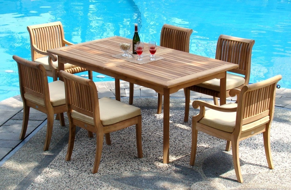"Outdoor Dining Table And Chairs Sets Intended For Popular 7 Piece Grade A Teak Dining Set – 94"" Double Extension Rectangle (Gallery 13 of 20)"