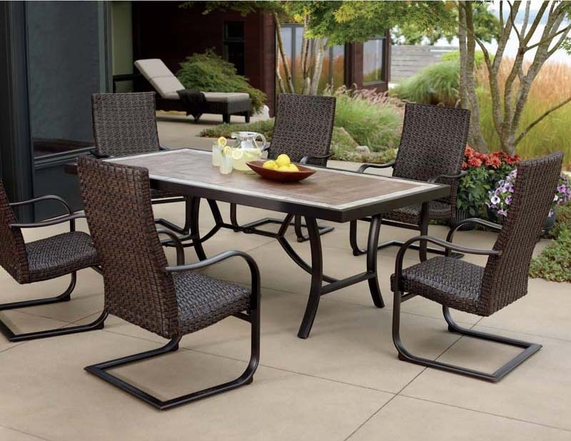 Outdoor Dining Table And Chairs Sets Intended For Popular Patio: Astonishing Outdoor Dining Sets Costco Sunbrella Patio (Gallery 18 of 20)