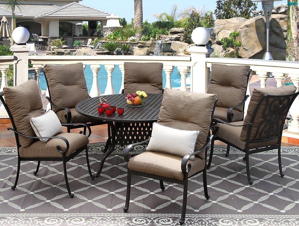 Outdoor Tortuga Dining Tables For Preferred Tortuga Cast Aluminum Outdoor Patio 7Pc Set 60 Inch Round Dining (View 13 of 20)