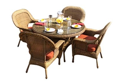 Outdoor Tortuga Dining Tables Inside Most Current Amazon : Tortuga Outdoor Garden Patio Lexington 5 Piece Dining (Gallery 16 of 20)