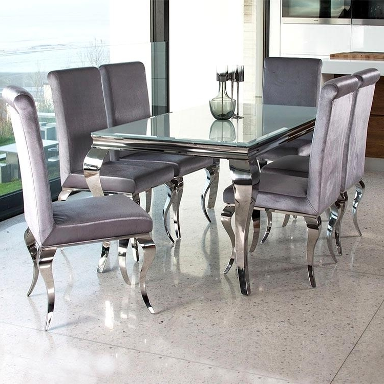 Outstanding Chrome Glass Dining Table Cool Silver Rectangle Modern Throughout Best And Newest Chrome Dining Sets (View 7 of 20)