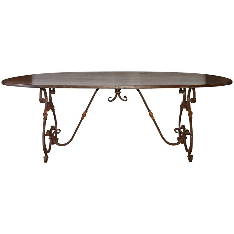 Oval Dining Tables For Sale Within Most Popular French Inspired Metal Base Oval Dining Table For Sale At 1Stdibs (Gallery 10 of 20)