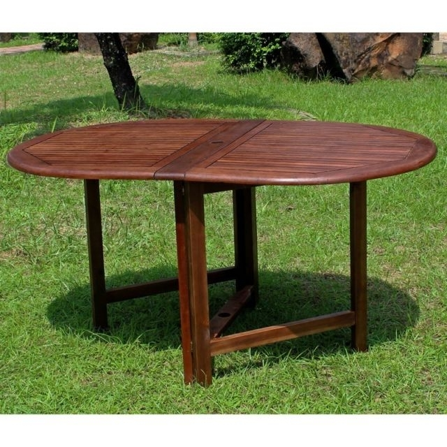 Oval Folding Dining Tables For Most Current International Caravan Highland Acacia Miami Oval Gate Leg Folding (Gallery 13 of 20)