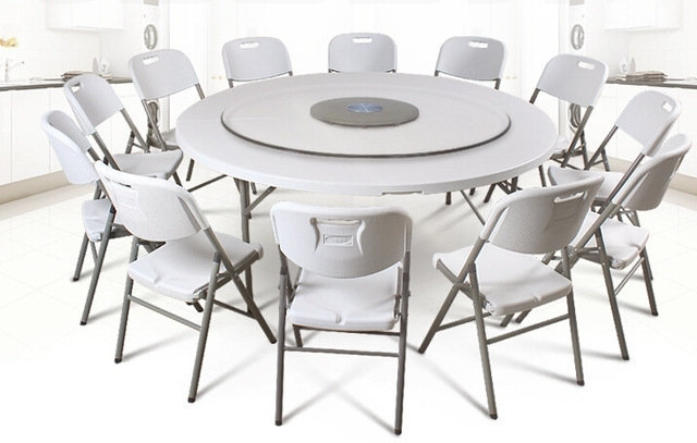 Oval Folding Dining Tables Intended For Current Hdpe Plastic Folding Dining Table Round For Hotels Restaurant Home (Gallery 20 of 20)