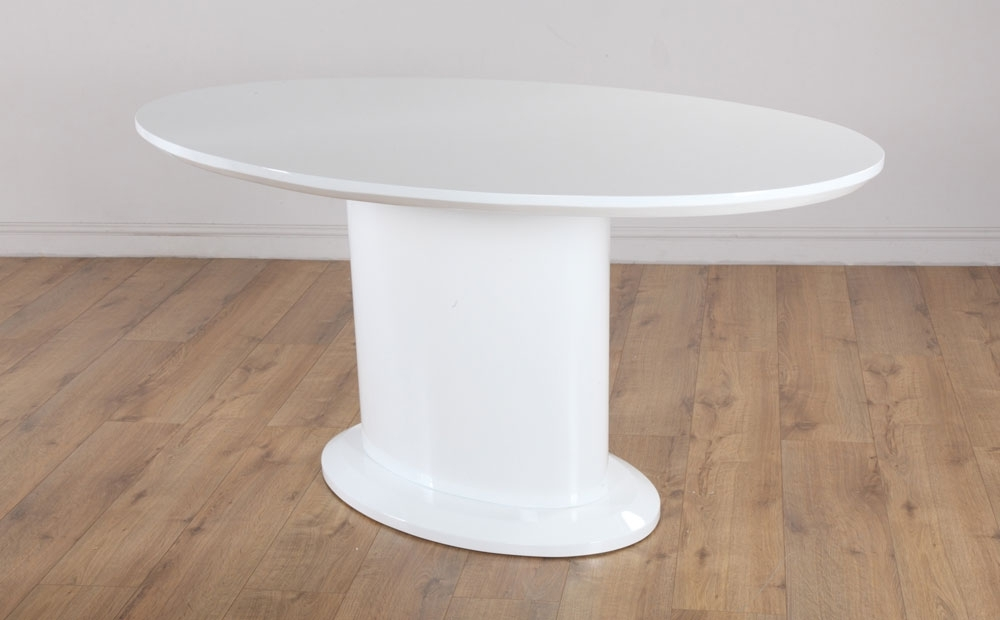 Oval White High Gloss Dining Tables Within Well Known Monaco & Perth White High Gloss Oval Dining Table & 4 6 Leather (Gallery 13 of 20)