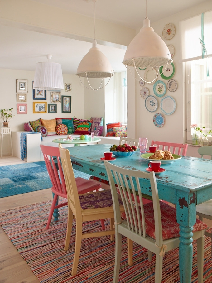 Painted Dining Tables Pertaining To Most Current Colorful Painted Dining Table Inspiration (View 13 of 20)