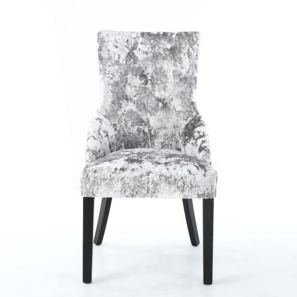 Pair Of Chester Crushed Velvet Silver Chair Dining Chairs Within Best And Newest Chester Dining Chairs (View 14 of 20)