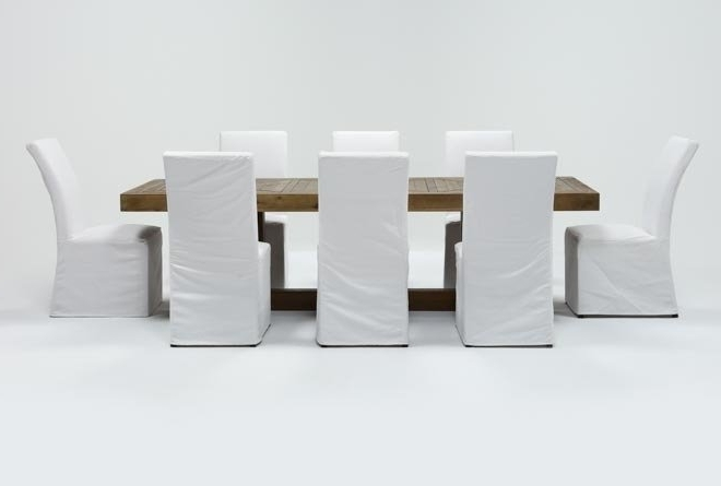 Palazzo 9 Piece Dining Set With Pearson White Side Chairs (View 15 of 20)