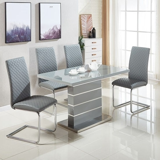 Parini Glass Extendable Dining Set In Grey Gloss With 4 For Current Grey Gloss Dining Tables (View 3 of 20)