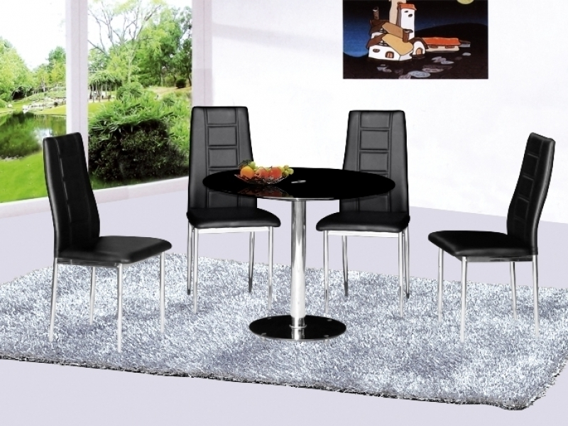 Parma Round Glass Dining Table And 4 Chairs – Homegenies Intended For Best And Newest Round Black Glass Dining Tables And 4 Chairs (View 12 of 20)