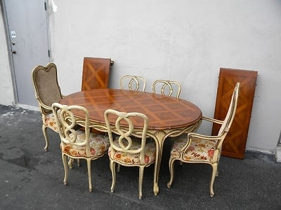 Parquet 6 Piece Dining Sets Inside Widely Used French Painted Parquet Dining Table With 6 Chairs & 2 Leaves (View 8 of 20)