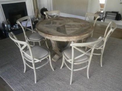 Parquet 6 Piece Dining Sets With Preferred Elm Parquet Style Round Dining Table & 6 Chairs X (View 9 of 20)