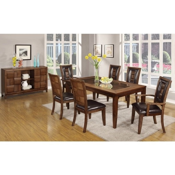 Parquet 7 Piece Dining Sets For Well Known Shop Calais 7 Piece Parquet Finish Solid Wood Dining Table With (View 2 of 20)