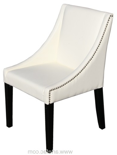 "Parsons Ivory Leather Dinning Chair With Silver Nail Head"" Regarding Recent Ivory Leather Dining Chairs (View 16 of 20)"