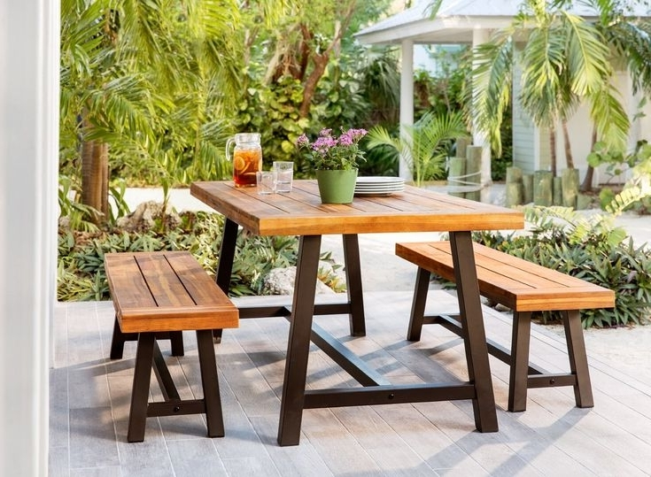 Patio Dining Sets With Wyatt 7 Piece Dining Sets With Celler Teal Chairs (View 10 of 20)