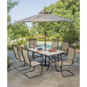 Patio Regarding Newest Palazzo 9 Piece Dining Sets With Pearson White Side Chairs (View 18 of 20)