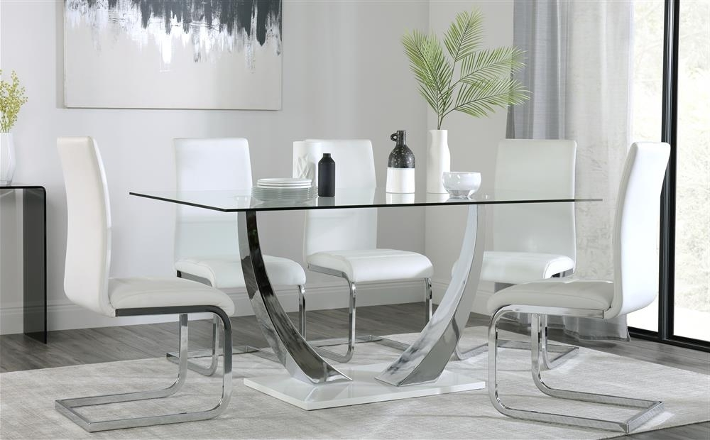 Peake & Perth White High Gloss And Glass Dining Table & 4 6 Chairs Within 2018 Perth White Dining Chairs (View 10 of 20)