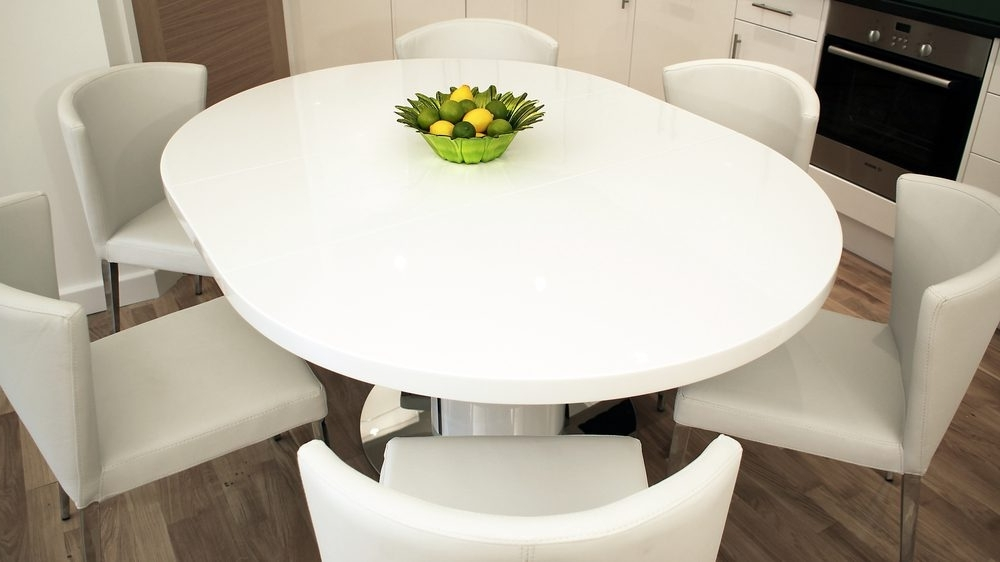 Pedestal Base Pertaining To Popular White Gloss Extendable Dining Tables (View 11 of 20)