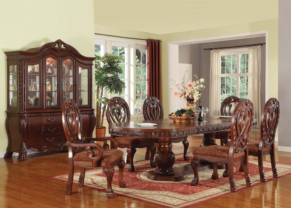 Pedestal Dining Tables And Chairs In Favorite Acme Acme Quinlan 7Pc Oval Shaped Double Pedestal Dining Room Set In (View 11 of 20)