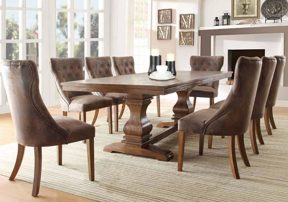 Pedestal Dining Tables And Chairs Intended For Popular Dining Room Dining Room Side Chairs Wood Kitchen Table Sets Dark (View 13 of 20)