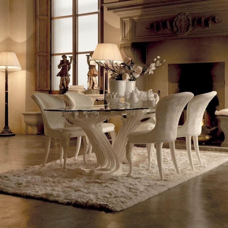 Pedestal Dining Tables And Chairs Regarding Recent Exclusive Italian Pedestal Large Glass Dining Table Set, Pedestal (View 14 of 20)