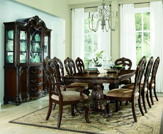 Pedestal Dining Tables And Chairs Throughout Latest 2243 114 7 Pc Deryn Park Cherry Finish Wood Double Pedestal Dining (View 15 of 20)