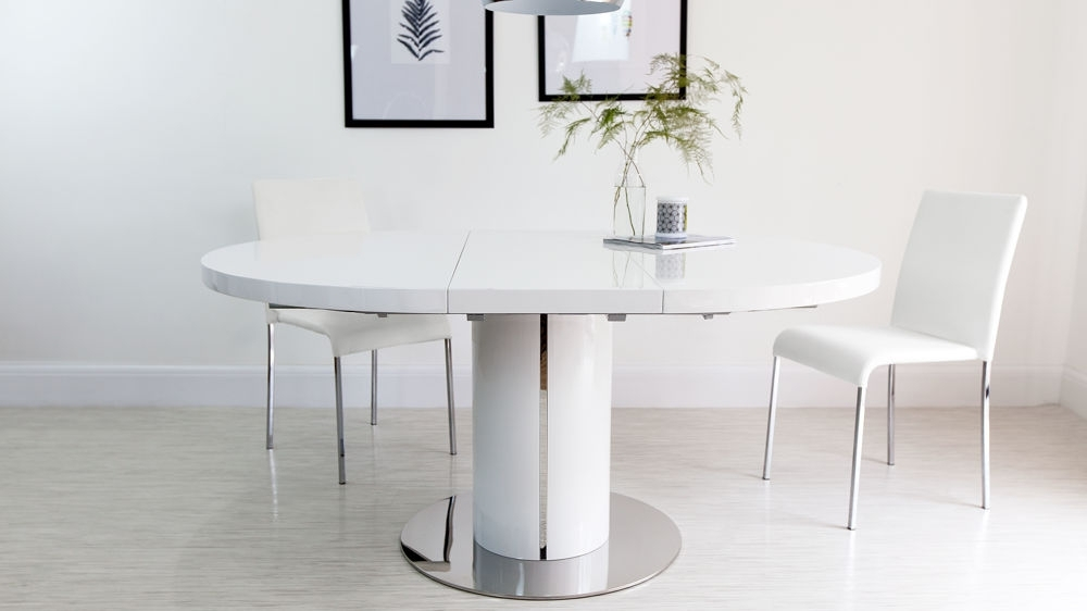 Pedestal Polished Steel Trim Within Preferred White Gloss Extendable Dining Tables (View 12 of 20)