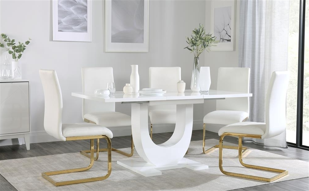 Perth White Dining Chairs Inside Well Liked Oslo White High Gloss Extending Dining Table With 4 Perth White (View 12 of 20)