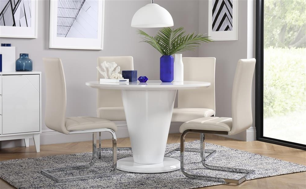 Perth White Dining Chairs Regarding Recent Paris & Perth White High Gloss Round Dining Table And 4 Chairs Set (View 13 of 20)