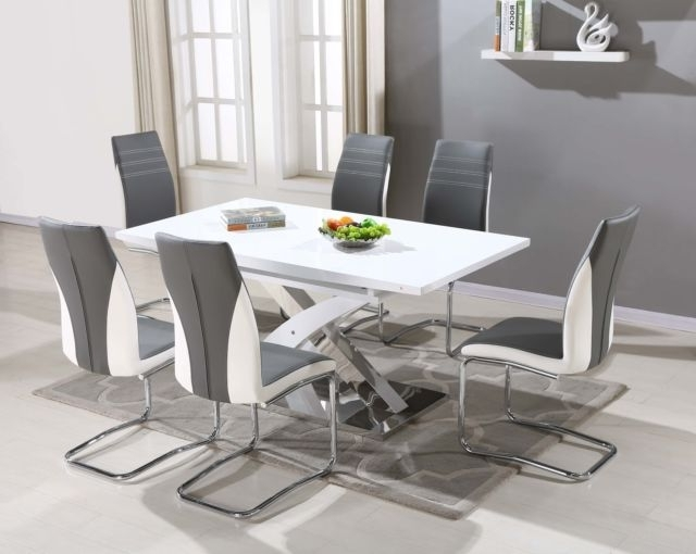 Pescara Glass Dining Table Set And 6 Upholstered Padded Faux Leather Inside Most Recent Glass Dining Tables White Chairs (View 8 of 20)