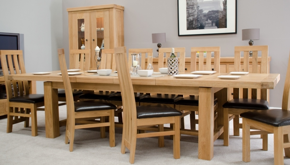 Phoenix Solid Oak Furniture Extra Large Grand Extending Dining Table Within Fashionable Extending Solid Oak Dining Tables (View 16 of 20)
