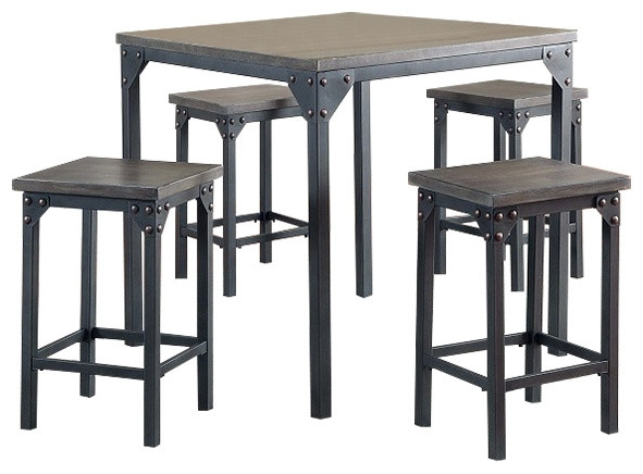 Pierce 5 Piece Counter Height Dining Table With Stools – Industrial In Most Recently Released Pierce 5 Piece Counter Sets (View 14 of 20)