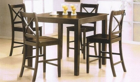 "Pierce 5 Piece Counter Sets With Favorite 5 Pc Espresso Finish Wood ""x"" Back Design Chairs Counter Height (View 12 of 20)"