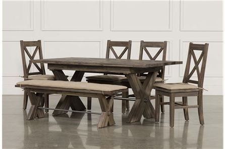 Featured Photo of Jaxon Grey 6 Piece Rectangle Extension Dining Sets With Bench & Wood Chairs