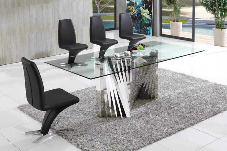 Plisset Italian Designs Clear Glass Dining Table With Aldo Faux Within Widely Used Glass Dining Tables And Leather Chairs (View 15 of 20)