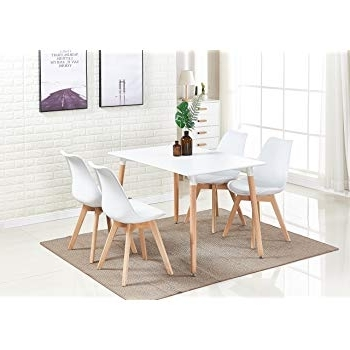 P&n Homewares® Lorenzo Dining Table And 4 Chairs Set Retro And In Well Known White Dining Tables And Chairs (View 12 of 20)
