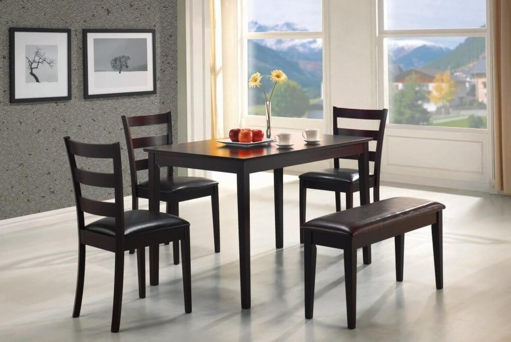 Popular 26 Dining Room Sets (Big And Small) With Bench Seating (2018) Intended For Small Dining Tables And Bench Sets (View 2 of 20)