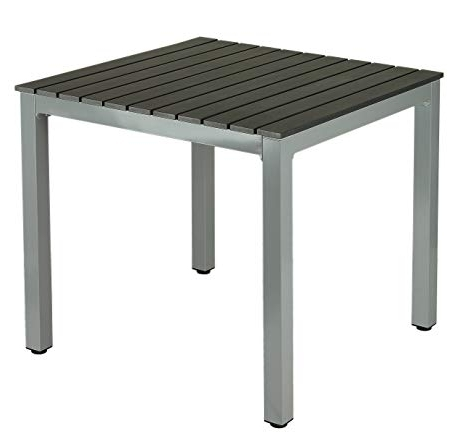 Popular Amazon : Jaxon Aluminum Outdoor Table In Poly Wood, Silver/slate Inside Jaxon 6 Piece Rectangle Dining Sets With Bench & Uph Chairs (View 15 of 20)