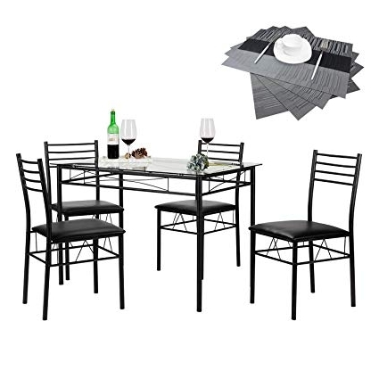 Popular Amazon: Vecelo Dining Table With 4 Chairs Black: Kitchen & Dining Regarding Black Dining Tables (View 15 of 20)