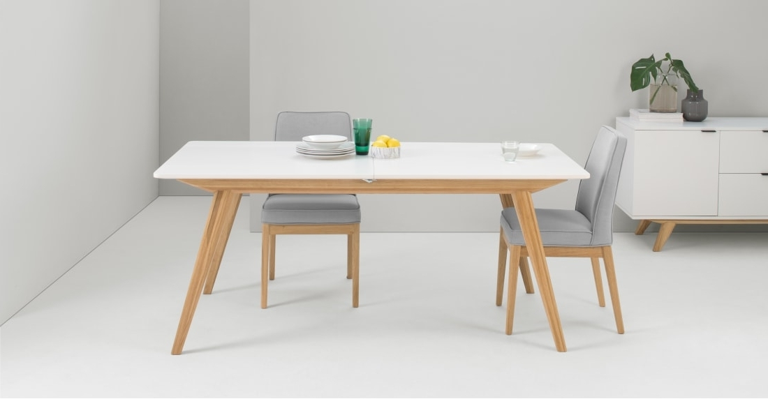 Popular Aveiro Extending Dining Table, Natural Oak And White (View 15 of 20)