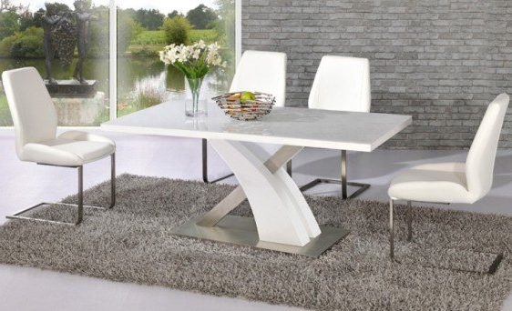 Popular Avici Y Shaped High Gloss White And Chrome Dining Table 6 With White Gloss Dining Room Furniture (View 4 of 20)