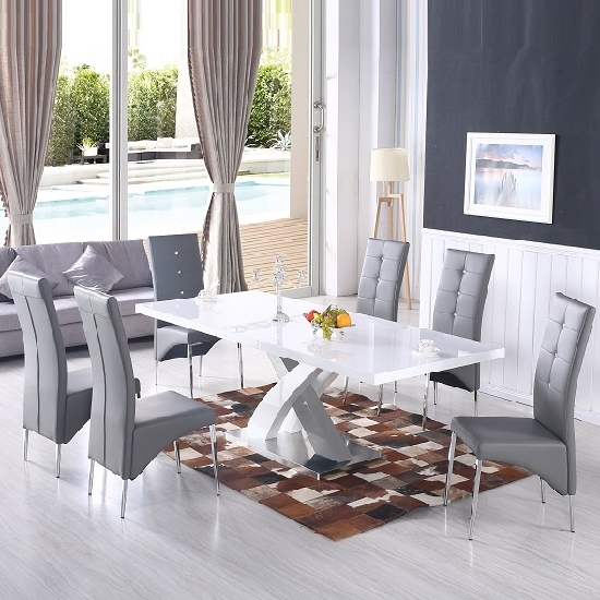 Popular Axara Extendable Dining Table In White With 6 Vesta Grey With Regard To Dining Tables With Grey Chairs (View 17 of 20)