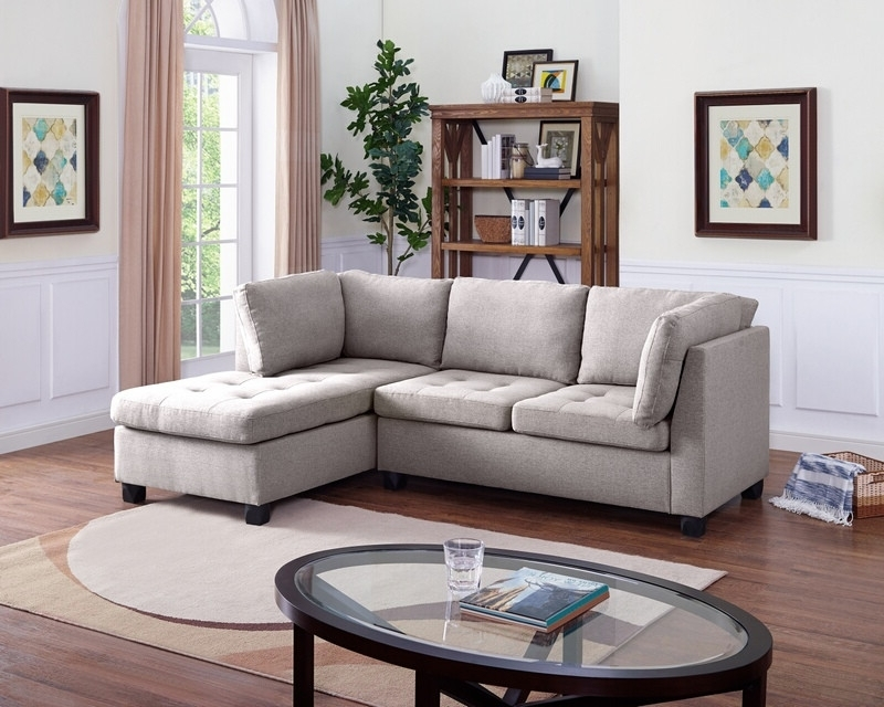 Popular Blaine 4 Piece Sectionals For Oah D6106 2 Pc Blaine Light Gray Linen Like Fabric Reversible Chaise (View 10 of 15)