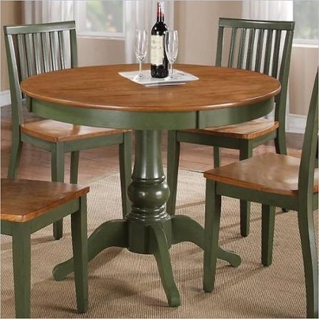 Popular Buy Steve Silver Company Candice Round Dining Table In Oak And Green Pertaining To Candice Ii 5 Piece Round Dining Sets (View 16 of 20)