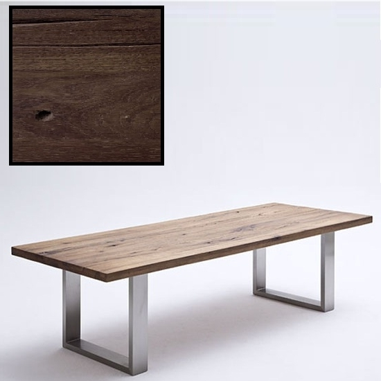 Popular Capello 180Cm Dining Table In Dark Oak With Stainless Steel Pertaining To 180Cm Dining Tables (View 18 of 20)