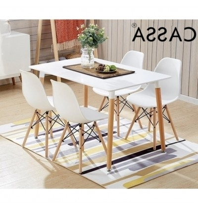 Popular Cassa Eames White Stylish Dining Set Of 4 (Square Table 120X60 Cm Intended For Dining Tables 120X (View 16 of 20)