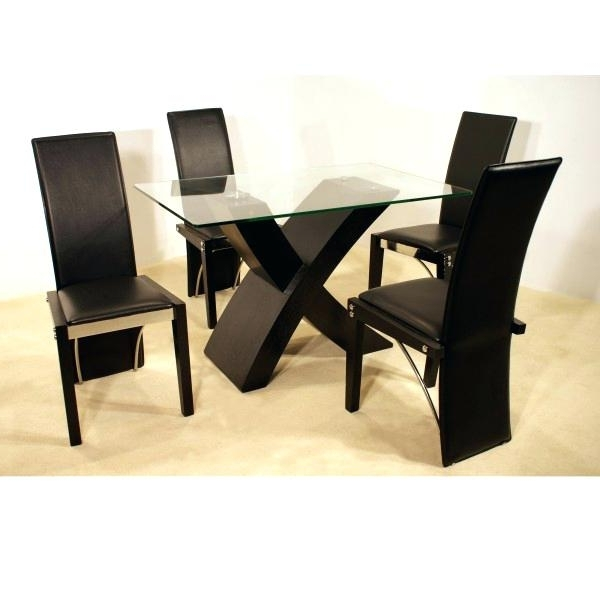 Popular Cheap Dining Table And 4 Chairs Round Glass Top Dining Table Set W 4 Regarding Cheap Glass Dining Tables And 4 Chairs (View 18 of 20)