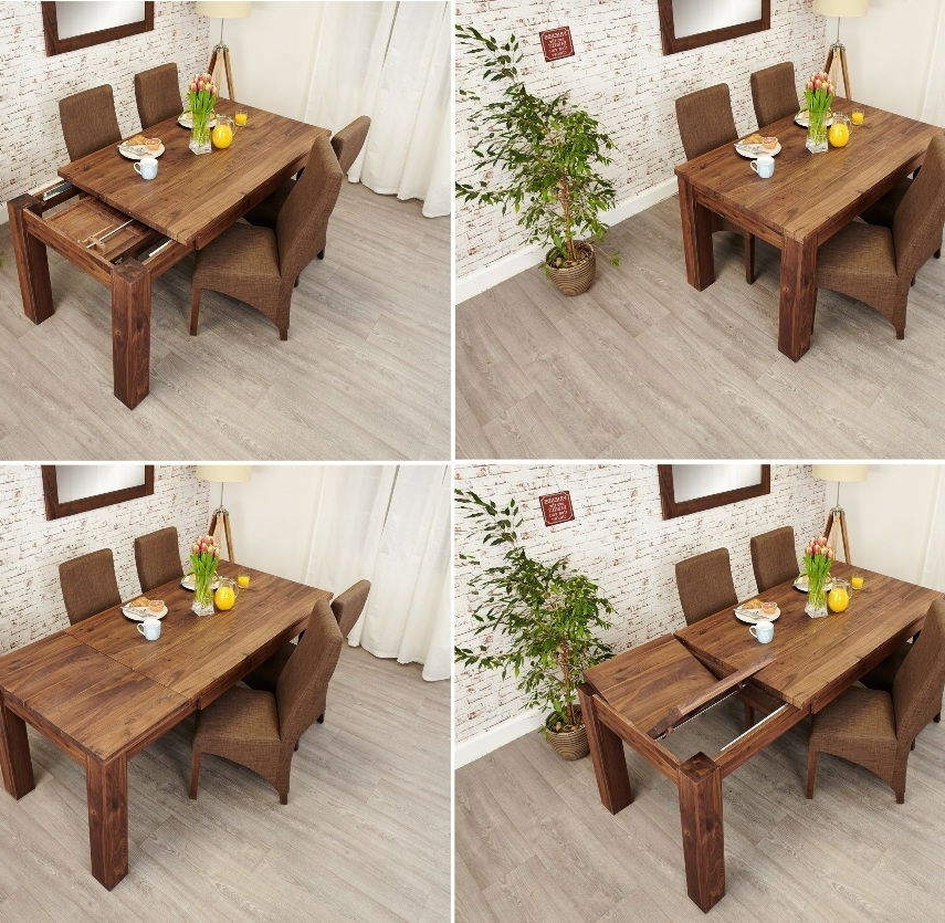 Popular Cheap Extendable Dining Tables Inside Mayan Walnut Extending Dining Table • Akd Furniture (View 20 of 20)